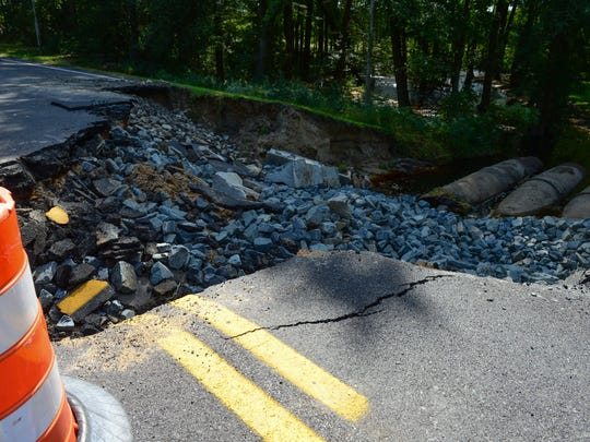Rt. 12 between Mount Olive Church Road and West Hills Drive has washed out due to the rain last week. Rt. 12 is closed to traffic. Monday, Oct. 3, 2016.