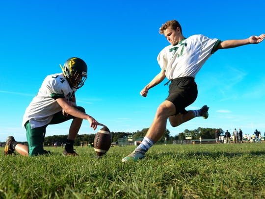 Indian River senior Andrew White practices field goal
