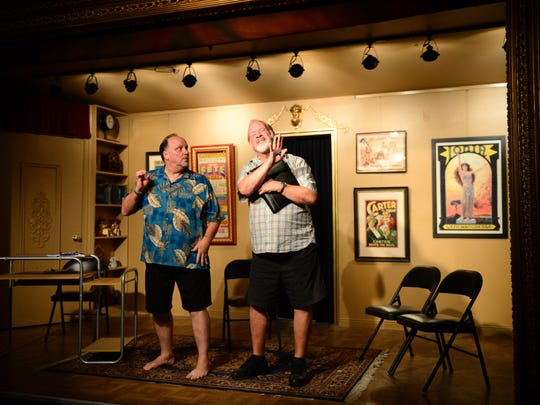 "The Bethany Area Repertory Theater Actors Mike Mall and Paul Tuttle prepares for their newest play ""Noah's Arc"" on Wednesday, Oct. 20, 2016."