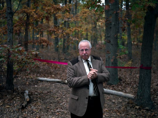 Guidance Center president Jay Einstein speaks during the unveiling of the Tranquility Trail at The Guidance Center Thursday, Nov. 3 in Millville.