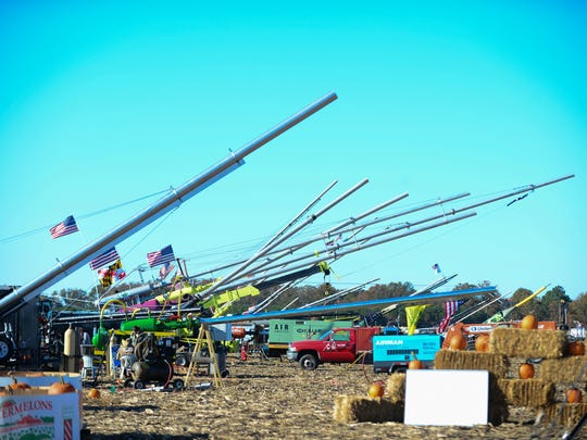 Pit row at the 2016 World Championship Punkin Chunkin on Saturday, Nov. 5, 2016.