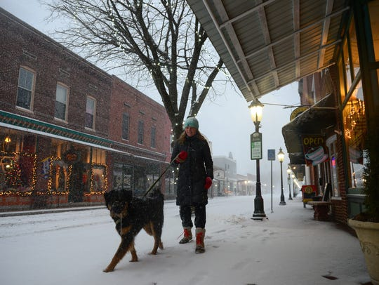 Kelly Lazar, with her dog Bear take a walk during the snow storm in Berlin on Saturday, Jan 7, 2016.