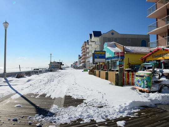 The Ocean City boardwalk after a significant snow event