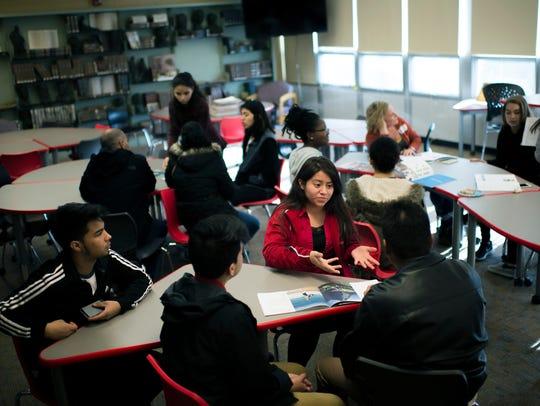 Vineland High School student Marilynn Miguel, 15, speaks