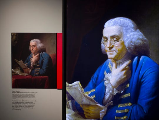 A portrait of Benjamin Franklin by artist David Martin