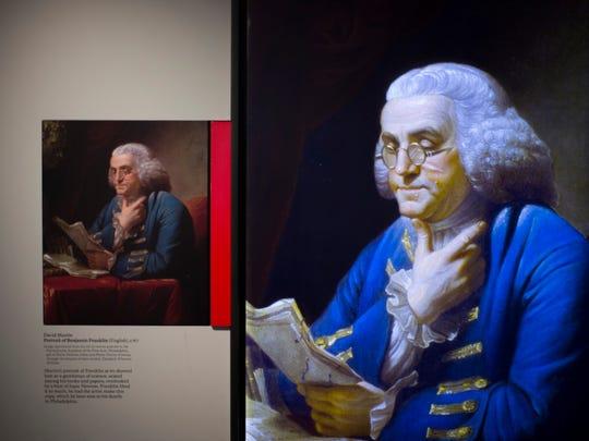 A portrait of Benjamin Franklin by artist David Martin