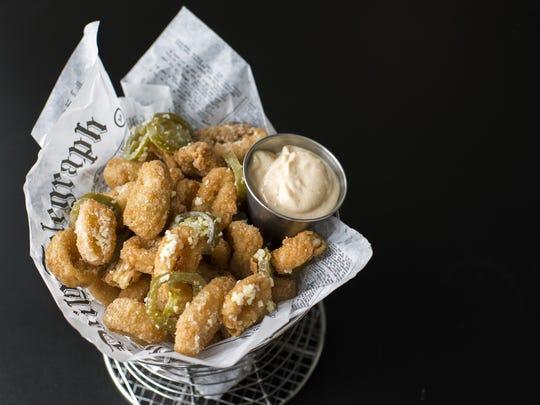 Fried calamari with lemon aioli and jalapeno from The Red Hen in Swedesboro.