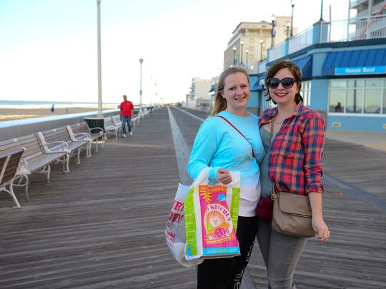 Jessica Ruth and Kirsten Lenderman, Lancaster County, Pa. visit Ocean City, Md. on Wednesday, March 8, 2017.