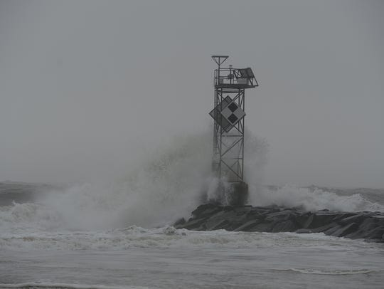 High waves crash into the Inlet Jetty in Ocean City