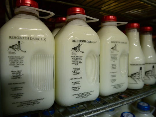 Rustic Acres Farm Market, located in Rehoboth Beach bottles fresh off the farm milk.