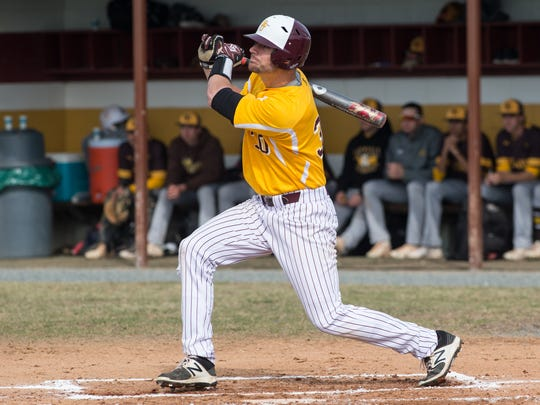 Salisbury's Simon Palenchar (30) swings during an at-bat in a game against Rowan University on March 21, 2017.