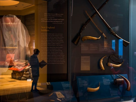 Weapons and battle horns on display inside the upcoming Museum of the American Revolution Friday, March 24 in Philadelphia.