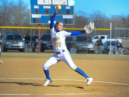 Sussex Central pitcher Hayley McCabe faces a Sussex