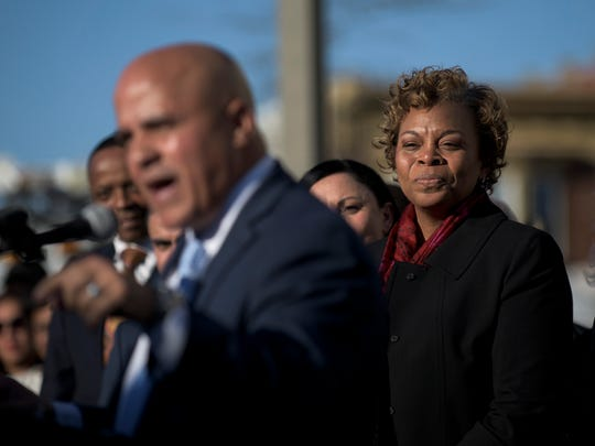 """Camden Mayor Dana Redd watches as Council President Francisco """"Frank"""" Moran speaks after she officially endorsed him for the next mayor of Camden Wednesday, March 29, 2017 at Camden City Hall."""