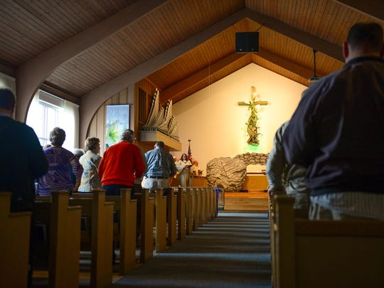 Sunday service being held at Atlantic United Methodist