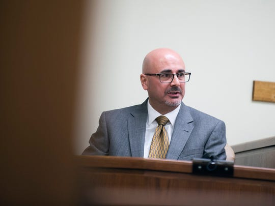 Medical Examiner Dr. Andrew Falzon testifies during day eight of the Creato murder trial Tuesday, May 9, 2017 in Camden.