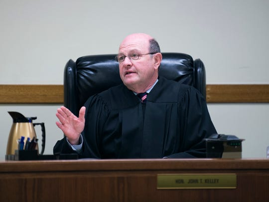 Judge John T. Kelley speaks with the jury after both the prosecution and defense have rested during day ten of testimony Wednesday, May 17, 2017 in Camden.