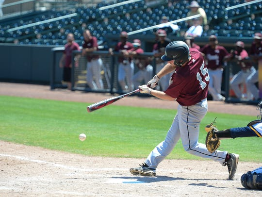 Maryland Eastern Shore's Ryan Rotondo with the hit