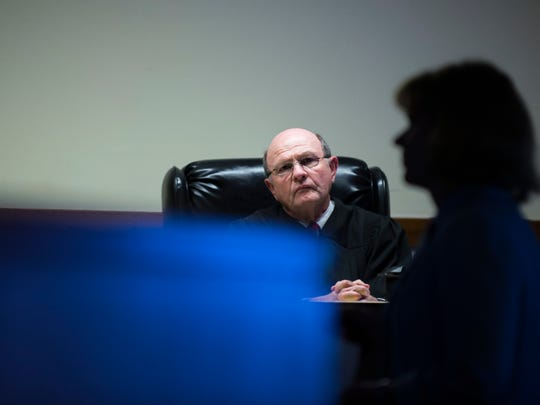 "Judge John Kelley listens as Assistant Camden County Prosecutor Christine Shah delivers closing arguments in the David ""DJ"" Creato murder trial Tuesday, May 23, 2017 in Camden."