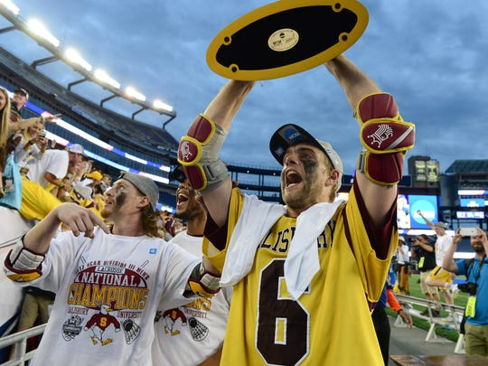 Salisbury University's Brendan Bromwell celebrates after winning the NCAA Division III Lacrosse National Championships at Gillette Stadium in Foxoborough, MA. on Sunday, May 28, 2017.