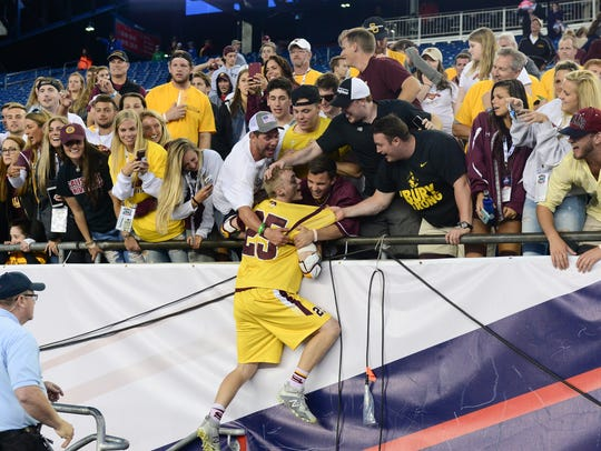 Salisbury University's Kyle Tucker celebrates after