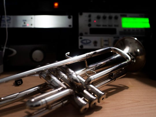 """Matt Cappy's trumpet waits for his return inside his rehearsal space at Gradwell House Recording in Haddon Heights. Cappy's first album, """"Church and State,"""" releasesJune 16, days before he heads out on a summer tour playing with Jill Scott."""