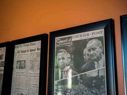 An issue of the Courier-Post's coverage of the Johnson-Kosygin summit hangs on display inside the Hollybush Mansion in Glassboro.