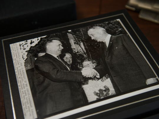 An Associated Press photo of President Lyndon B. Johnson and Soviet Premier Alexei Kosygin shaking hands during the summit in 1967.
