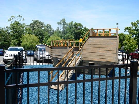 Recently a children's playground was installed against
