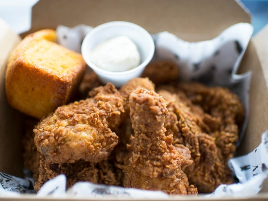 Fried chicken and cornbread from Love & Honey Fried