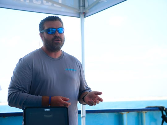 Expedition Chief Scientist Michael Hyatt from Adventure Aquarium in New Jersey aboard the OCEARCH talks about the multiple scientific research studies being conducted to learn about great white sharks on Tuesday, July 11, 2017.
