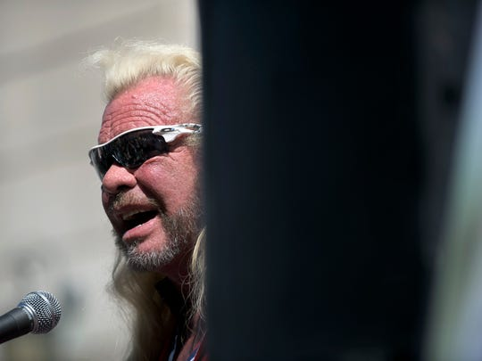 "Duane ""Dog the Bounty Hunter"" Chapman speaks to the public during a press conference Monday, July 31, 2017, in Trenton, New Jersey."