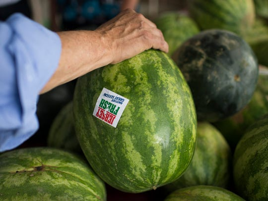 Close up of a 'Jersey Fresh' watermelon during a WIC