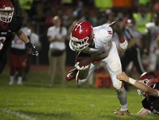 Rancocas Valley's Iverson Clement (11) carries the