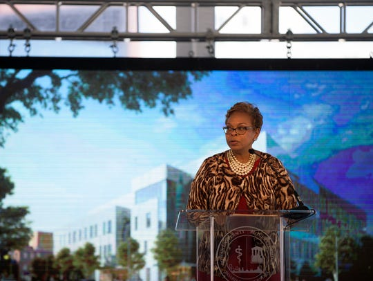 Camden Mayor Dana Redd speaks during a groundbreaking for the new Rutgers-Rowan Health Sciences Center on Oct. 19, 2017 in Camden, New Jersey.