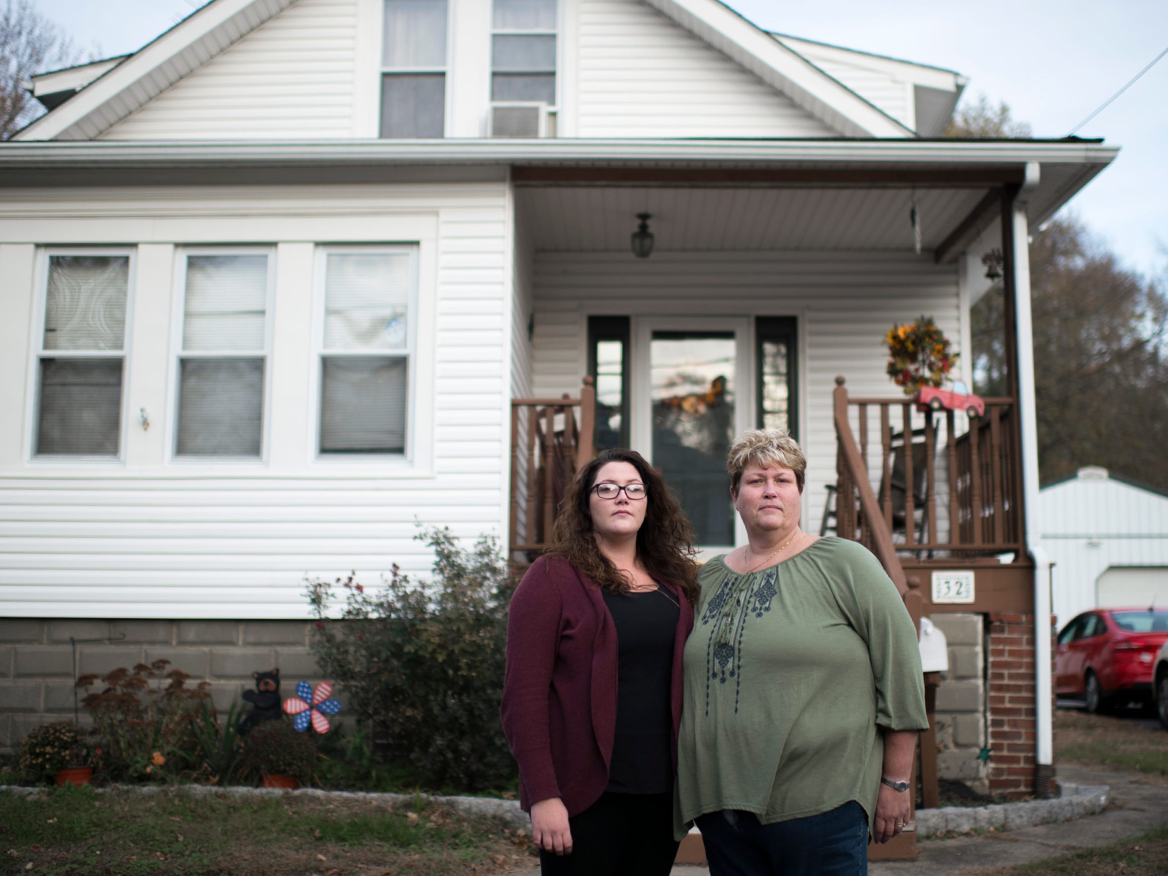 Kasey Maines, left, poses with her mother Debi Maines Tuesday, Nov. 21, 2017 in Gibbstown, New Jersey. Debi Maines, Kasey's mom, is in recovery from co-dependency, and 27-year-old Kasey Maines has been in recovery from heroin addiction for four years.