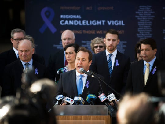 Freeholder Director Louis Cappelli Jr. speaks as freeholders file a lawsuit to battle opioid epidemic naming manufacturers Wednesday, Feb. 21, 2018 at the Camden County Hall of Justice in Camden, N.J.