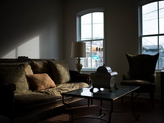 The living room inside the new Nick Virgilio Writers House in Camden.