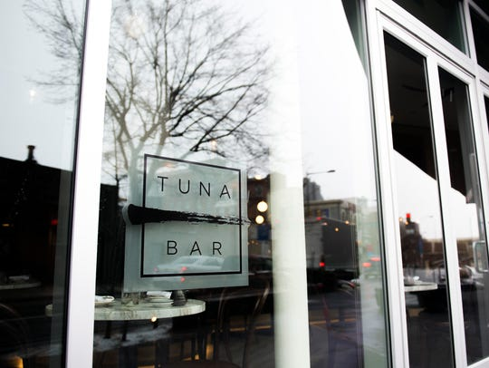 Located on the first floor of the newly constructed Bridge building, Tuna Bar benefits from an entire wall of windows. This makes for a space in stark contrast to other Old City dining destinations in historic footprints. And Tuna Bar has used the flood of natural light to reinforce a luxe treehouse vibe.