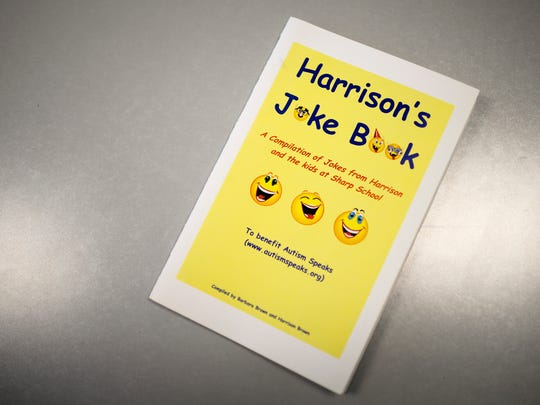 A joke book Harrison Brown, 19, put together while in elementary school. Brown, who is autistic, is a stand up comedian as well as a student at Rowan College at Burlington County.