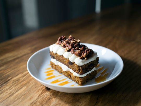 The two-layered Carrot Cake is topped with mascarpone cream at Hearthside in Collingswood.