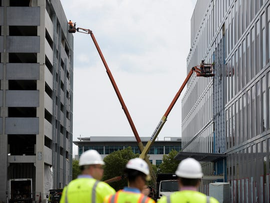 Construction ensues at the American Water building site Friday, June 8, 2018 in Camden, N.J.