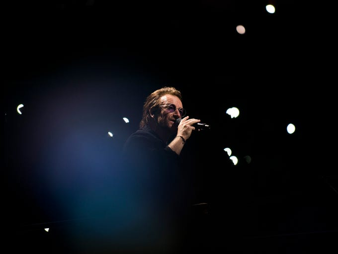 U2 frontman Bono performs during a concert at the Wells