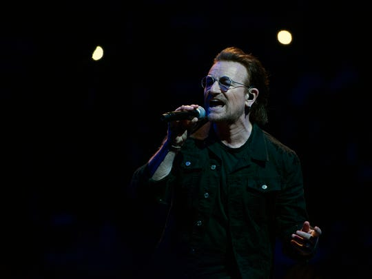 U2 frontman Bono performs during a concert at the Wells Fargo Center Wednesday, June 13, 2018 in Philadelphia, Pa.
