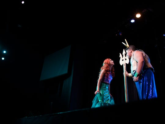 Summer Stage allows young people to learn about theater but also build confidence and gain skills. Here, campers Stephanie Masapollo, left, and Frank Testa rehearse a scene of 'The Little Mermaid' at the Dennis Flyer Theatre in Blackwood.