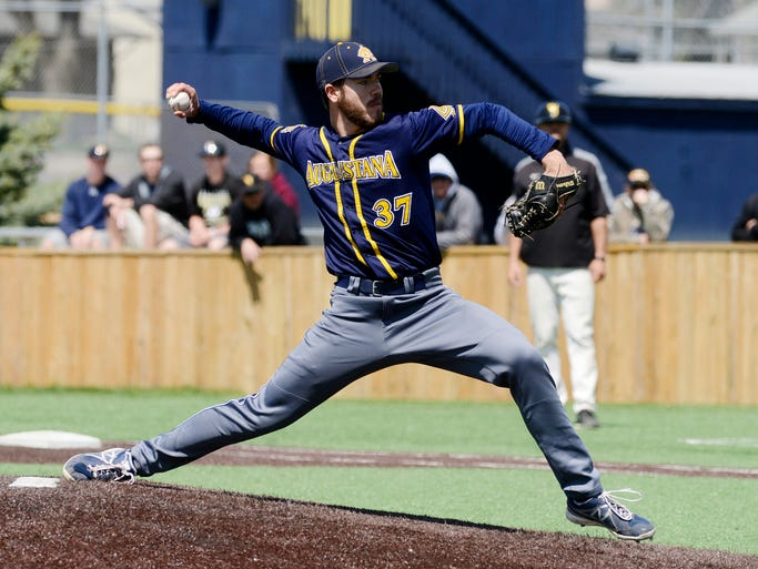 Michael Letkewicz pitches for Augie as they play Wayne State in Friday's NSIC tournament game at Ronken Field, May 9, 2014.