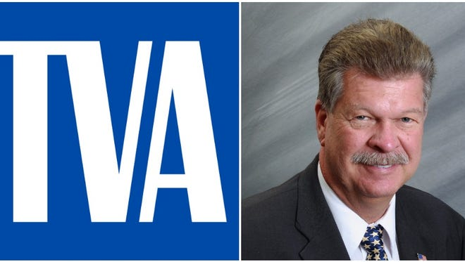 Clockwise from top left: The TVA logo, Rep. Mike Clampitt and Buncombe County Democrats' logo
