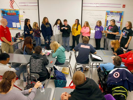 "Jackson Liberty High School students participate in the ""Thursdays with Friends"" session, November 3, 2016.  The weekly class helps build build empathy and fosters social-emotional growth in students there."
