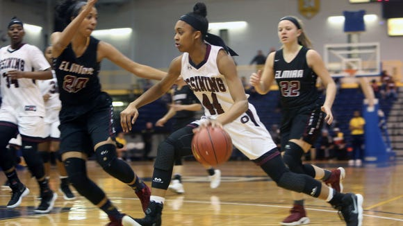 Ossining defeated Elmira 90-78 in the girls basketball regional championship game at Pace University in Pleasantville March 9, 2018.