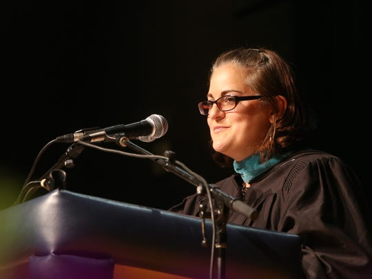 Principal, Bonnie King speaks during the John Jay High School commencement at the Mid-Hudson Civic Center in the City of Poughkeepsie on June 22, 2018.